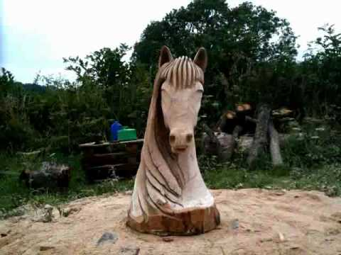 Chainsaw carving horse head oak time lapse video youtube