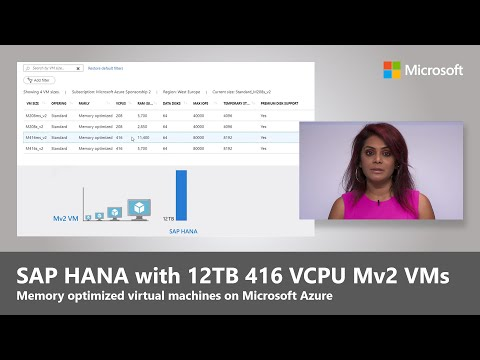 SAP HANA On Azure   Up To 12TB RAM And 416 VCPUs On Mv2 Virtual Machines