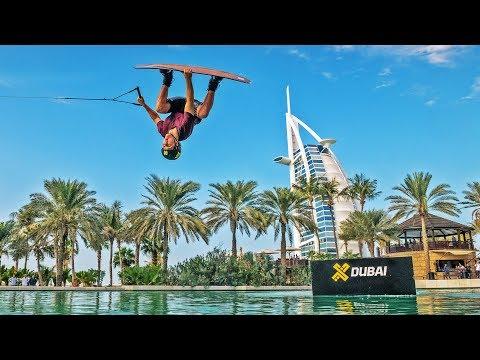 Wakeboarding stunt around Madinat Jumeirah resort in Dubai