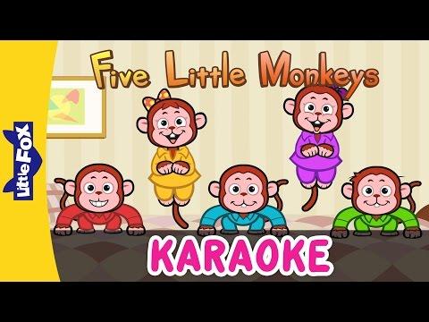 Five Little Monkeys Jumping On The Bed | Sing-Alongs | Karaoke Version | Full HD | By Little Fox