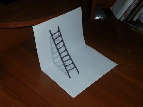 видео: Как нарисовать 3d РИСУНОК на бумаге карандашом. ЛЕСТНИЦА. how to draw 3d