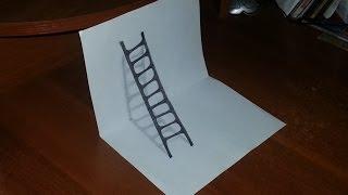 Как нарисовать 3D РИСУНОК на бумаге карандашом. ЛЕСТНИЦА. How to draw 3D(Как нарисовать 3D РИСУНОК на бумаге карандашом. How to draw 3D. Здравствуйте, в этом видео вы увидите, как нарисоват..., 2016-01-23T09:13:33.000Z)