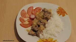Рецепт-Индейка тушеная с ананасом от videokulinaria.ru