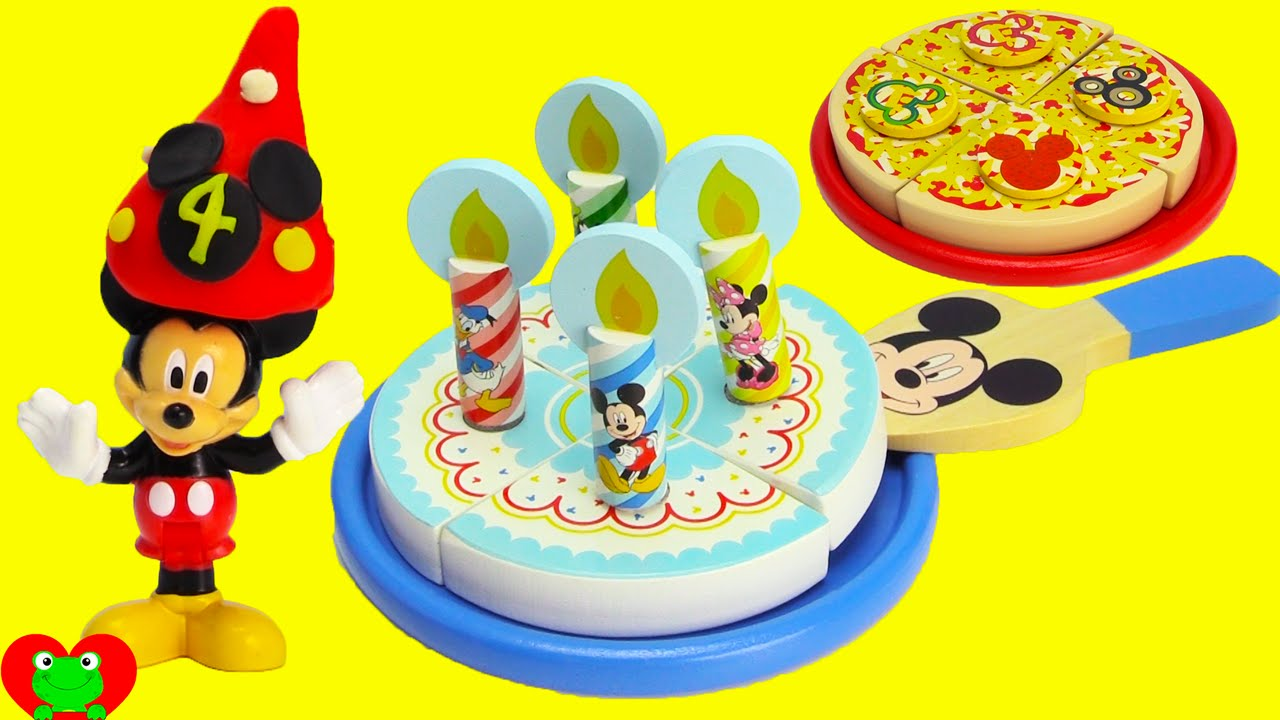 Mickey Mouse Club House Wooden Pizza And Birthday Cake Set Youtube