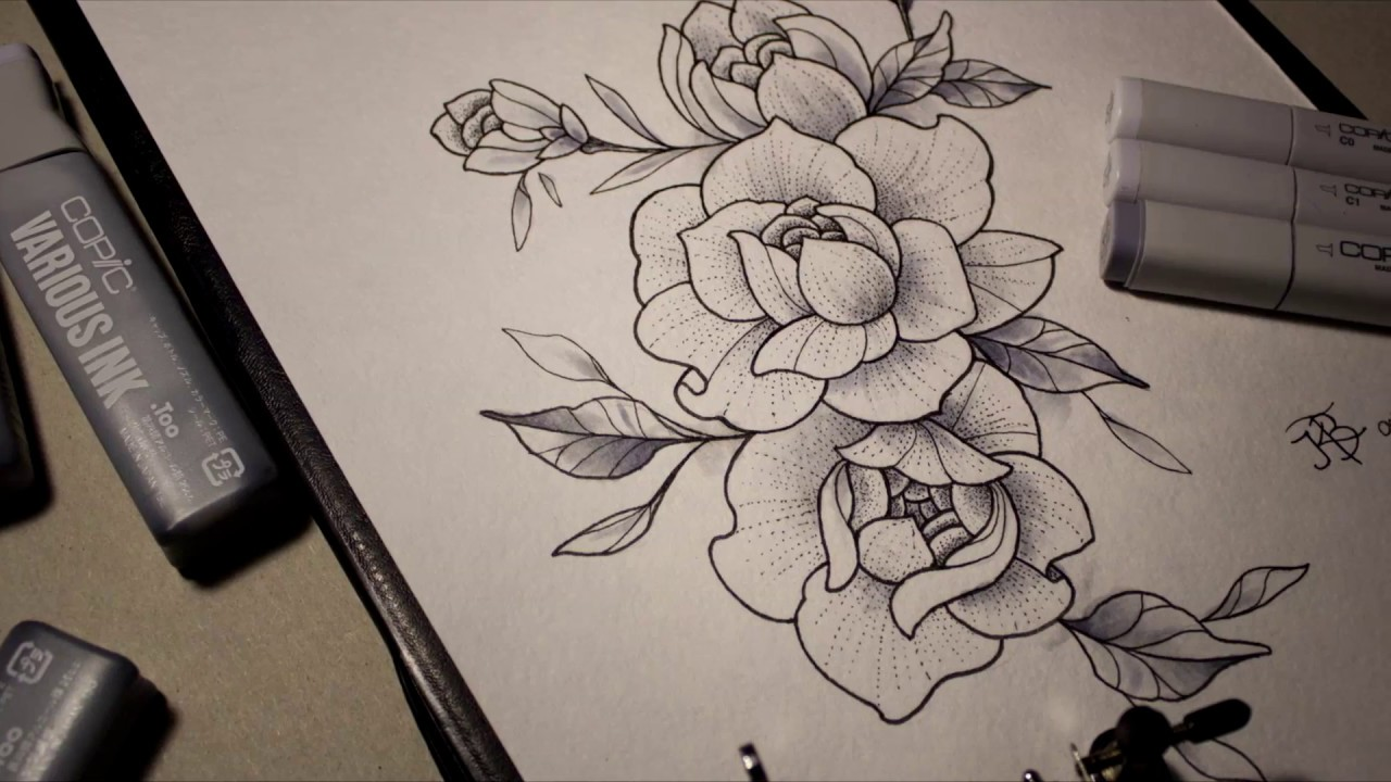 эскиз для татуировки пионы Sketch For Tattoo Flowers