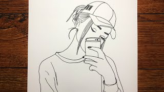 Selfie Çeken Kız Nasıl Çizilir - How To Draw A Girl Taking A Selfie - İphone Kız Çizim