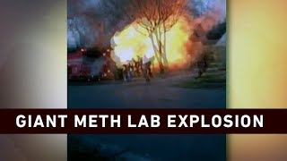 Tennessee meth lab explosion caught on camera drugs fire.