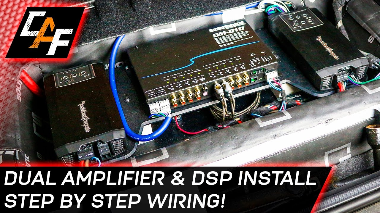 audio amplifier wiring car audio wiring dual amplifier and dsp install youtube audio amplifier with wifi car audio wiring dual amplifier and