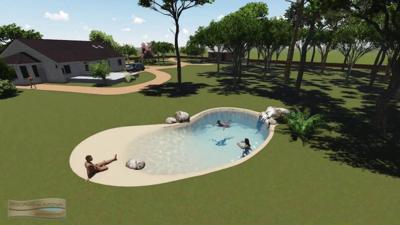 Dise o 3d piscina de arena en una finca con cascada youtube for Piscina 3d