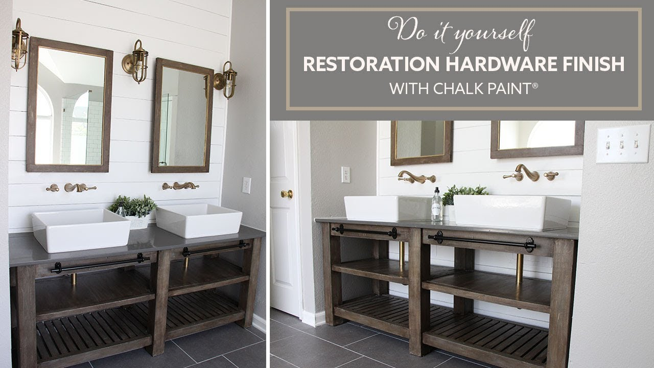 DIY Restoration Hardware Finish With Chalk Paint ® Bathroom Vanity |  Acabado De RH
