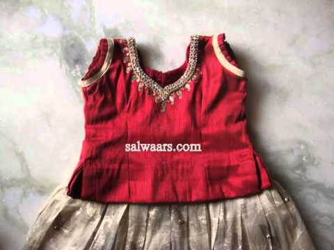 Kids Banarasi Netted Patch Work Silk Hand Work