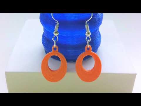 3D Printed Earrings Part 1  Orange and Blue