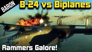 War Thunder - B-24 & B-17s vs Ramming Biplanes!