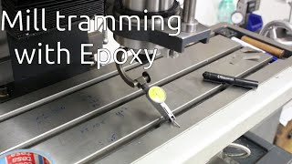 Tramming a milling machine with epoxy
