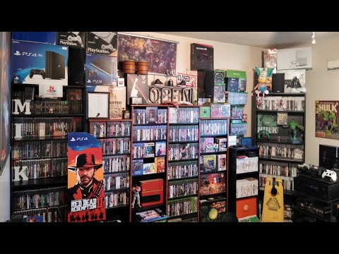 2019 GAME ROOM TOUR OVER 1,000 GAMES 22 CONSOLES!!!..1/1/19