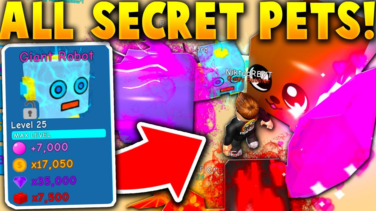 I Got Every Secret Pet In Bubble Gum Simulator Roblox Youtube