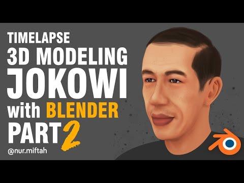Blender 3D - 3D Modeling Pak Jokowi PART 2 (Timelapse)