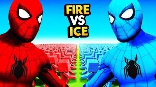 HOT FIRE SPIDERMAN vs COLD ICE SPIDERMAN
