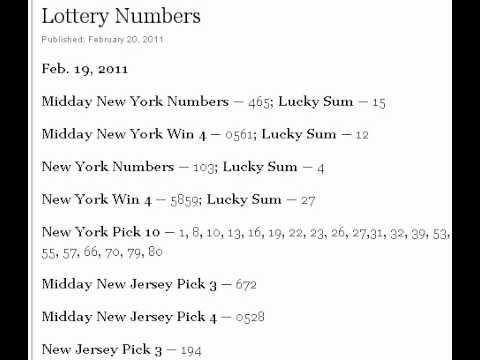 New Jersey Lottery Results Pick 4 Midday