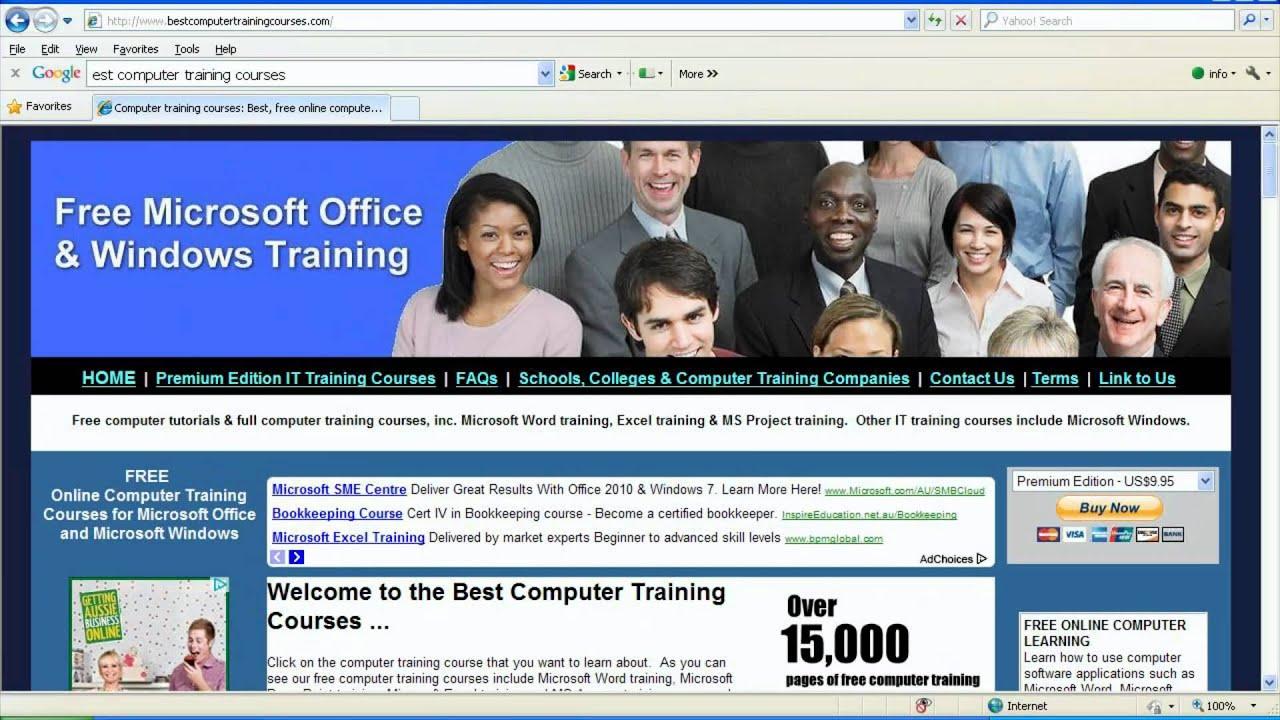 Free computer training courses: Free Windows & Office tutorials