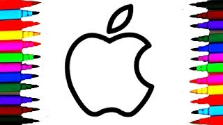 How to Draw and Color Apple Logo Coloring Pages l Drawing and Coloring Books Picture for Babies