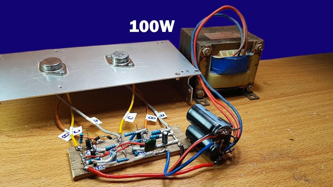 how to make 100w amplifier circuit using two transistors 2n3055 [ 1280 x 720 Pixel ]