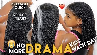 FUSSY KIDS DRAMA FREE Natural Hair Wash Day - My QUICK PAINLESS Method