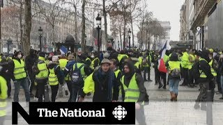 Yellow vest protesters in Paris demand better living standards