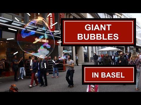 Giant Soap Bubble art: Street performer in Basel