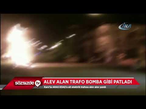ALEV ALAN TRAFO BOMBA GİBİ PATLADI