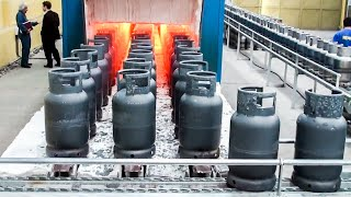 Incredible gas cylinders manufacturing process. Amazing LPG cylinders production line.