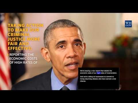 President Obama -  video caption - April 23rd, 2016 - Building a Fairer Criminal Justice System
