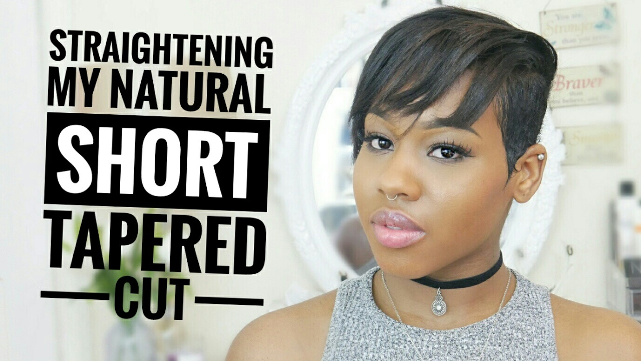 Straightening my Natural hair Tapered cut  Heat Damaged