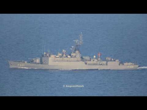Turkish Navy Burak class corvette F501 TCG Bodrum northbound Chios Strait in Aegean Sea.