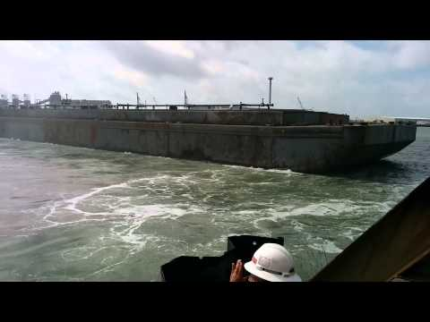 Launch of a 300', 950 ton, 30,000 barrel barge