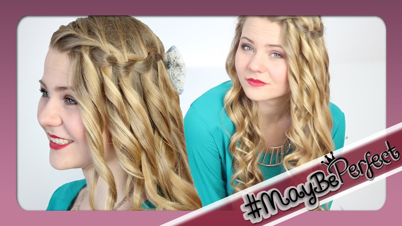 WASSERFALLZOPF Mit Locken #MayBePerfect YouTube