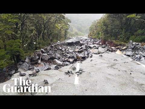 New Zealand flooding: helicopter footage shows landslides and ruined roads
