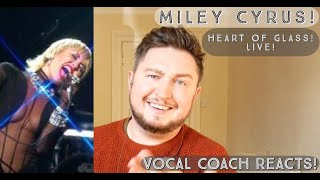 Vocal Coach Reacts! Miley Cyrus! Heart Of Glass! Live!