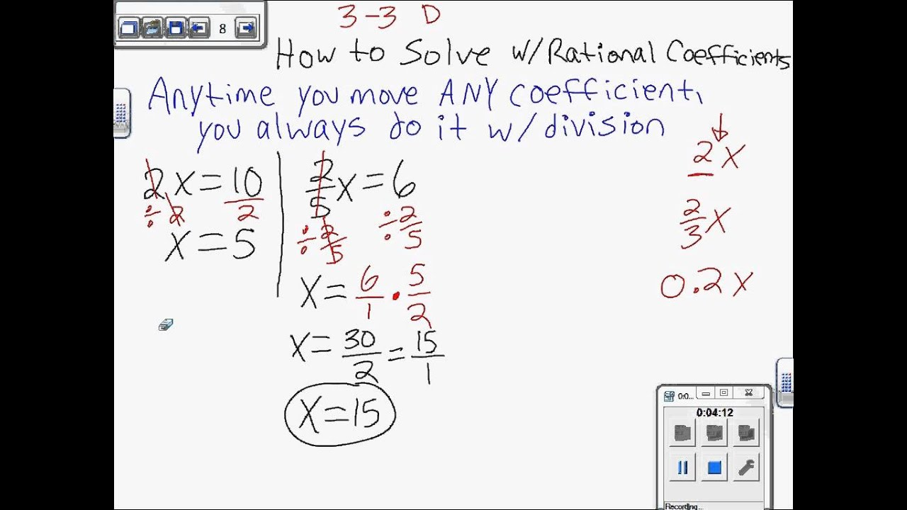small resolution of Solving Equations with Rational Coefficients (linear) 7th Grade Math Ch 3 -  YouTube