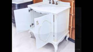 Antique Bathroom Vanity Set - White Marble - Chester