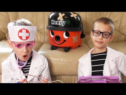 😷 OPERATION HENRY THE HOOVER ~ Fun Vacuum Cleaner Movie for Kids ~ Doctor Toy Play Set Review Demo