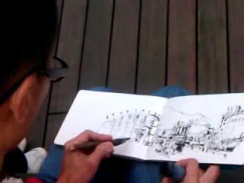 Urban sketcher at work - Ch'ng Kiah Kiean