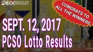 PCSO Lotto Results Today September 12, 2017 (6/58, 6/49, 6/42, 6D, Swertres & EZ2)