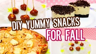 DIY yummy snacks and treats for fall!! Tortilla pizza, mini caramel apples & more!