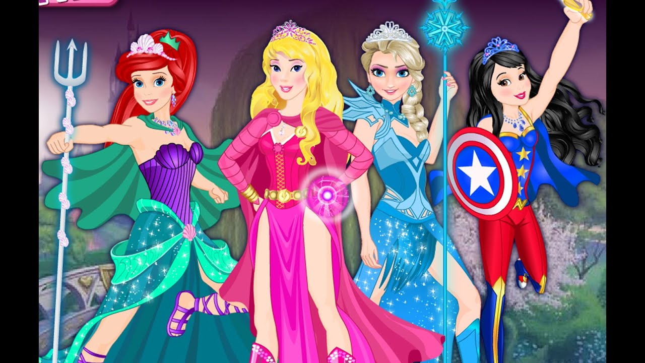 Superhero Disney Princess Elsa Ariel Snow White and ...