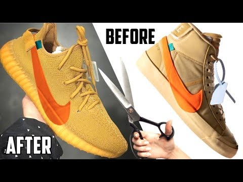 MAKING THE OFF WHITE HALLOWEEN YEEZY V2 !! MADE FROM THE NIKE BLAZER SPOOKY  PACK
