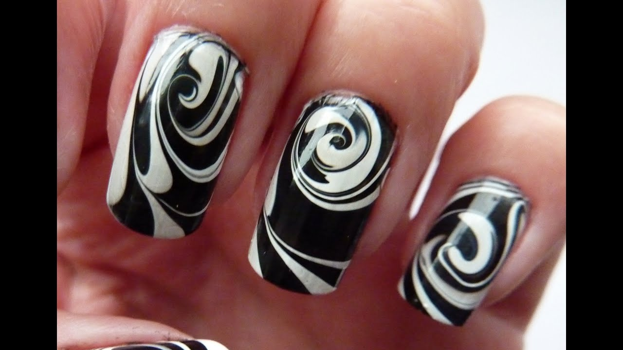 Water Marble For Short Nails, Black & White Swirl Nail Art Design ...