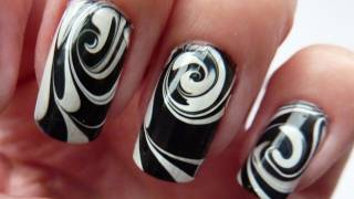 water marble for short nails black white swirl nail art design tutorial howto hd video