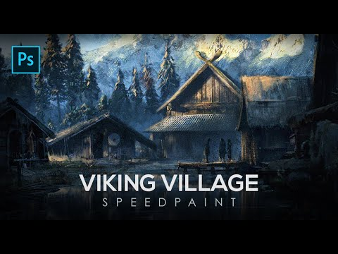 Concept Art Environment Design - Viking Village | Photoshop Timelapse