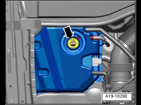 #019 снятие расширительного  бачка системы охлаждения Audi Q7